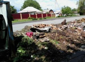 Стихийная свалка возникла рядом с мусорником в поселке Новостройка в Шахтах