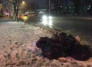 Сваленные в кучу мешки с мусором в центре Шахт примёрзли к асфальту