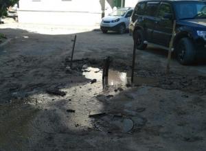 Из-под асфальта на улице Чернокозова в Шахтах бьет родник