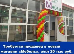 Требуется продавец в новый магазин «Мебель», зарплата 20 тысяч рублей
