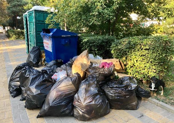 Бутылки, объедки, использованные памперсы: шахтинские коммунальщики вывезли после праздников не одну тонну мусора