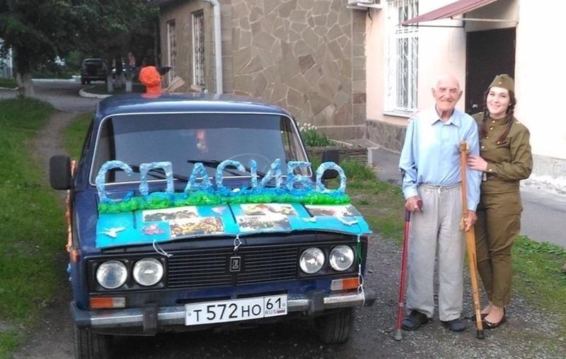 Юная шахтинка отказалась от автопробега и в одиночку отправилась на украшенном автомобиле поздравлять ветеранов